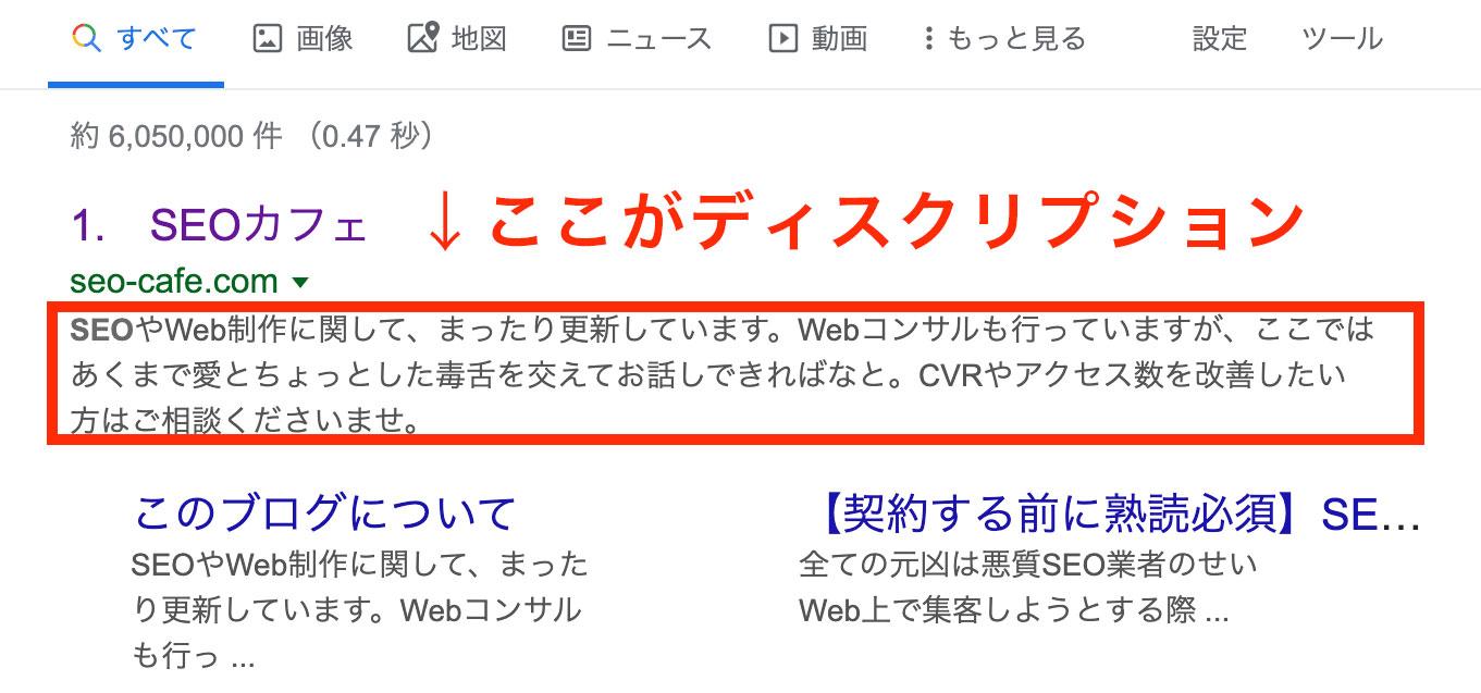 ディスクリプションは検索結果のここに表示されます